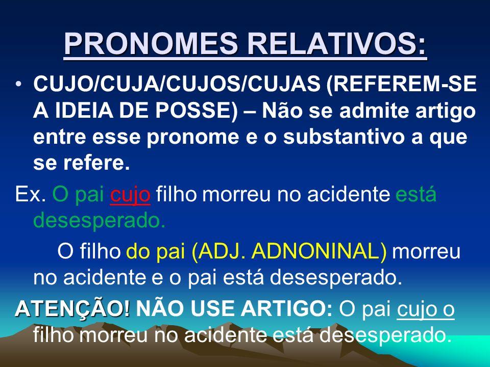 PRONOMES RELATIVOS: CUJO/CUJA/CUJOS/CUJAS (REFEREM-SE A IDEIA DE POSSE) – Não se admite artigo entre esse pronome e o substantivo a que se refere.
