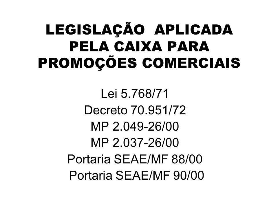 LEGISLAÇÃO APLICADA PELA CAIXA PARA PROMOÇÕES COMERCIAIS Lei 5.768/71 Decreto 70.951/72 MP 2.049-26/00 MP 2.037-26/00 Portaria SEAE/MF 88/00 Portaria SEAE/MF 90/00