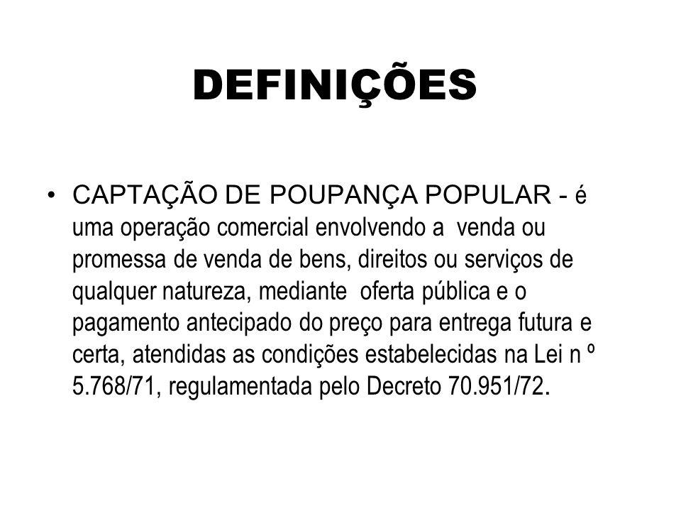 DEFINIÇÕES CAPTAÇÃO DE POUPANÇA POPULAR - é uma operação comercial envolvendo a venda ou promessa de venda de bens, direitos ou serviços de qualquer n