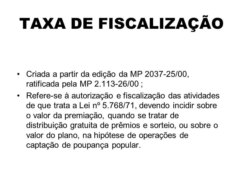 TAXA DE FISCALIZAÇÃO Criada a partir da edição da MP 2037-25/00, ratificada pela MP 2.113-26/00 ; Refere-se à autorização e fiscalização das atividade