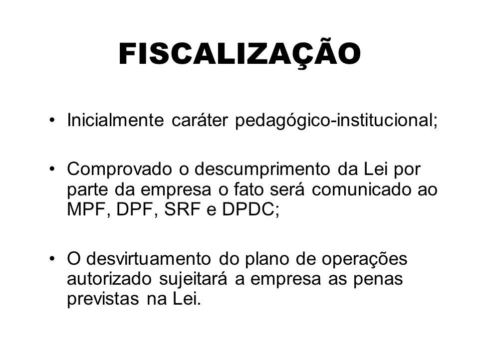 FISCALIZAÇÃO Inicialmente caráter pedagógico-institucional; Comprovado o descumprimento da Lei por parte da empresa o fato será comunicado ao MPF, DPF