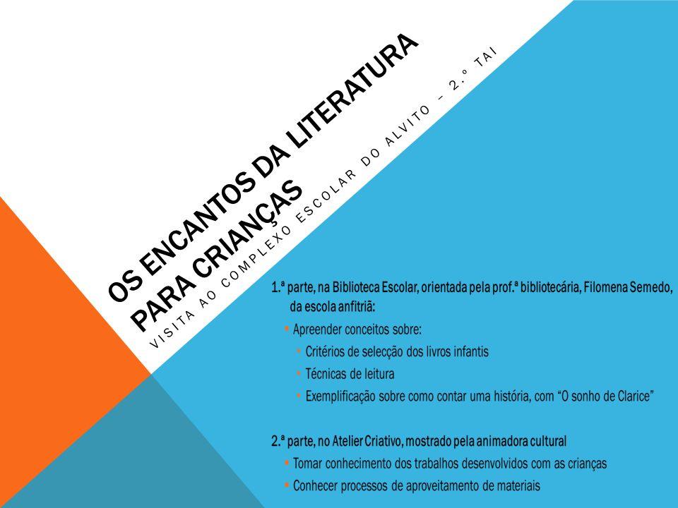 OS ENCANTOS DA LITERATURA PARA CRIANÇAS VISITA AO COMPLEXO ESCOLAR DO ALVITO – 2.º TAI