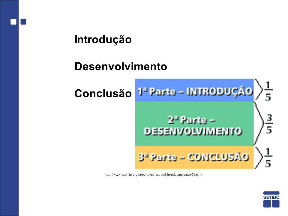 Introdução Desenvolvimento Conclusão http://www.espirito.org.br/portal/palestras/klickeducacao/actr04.html
