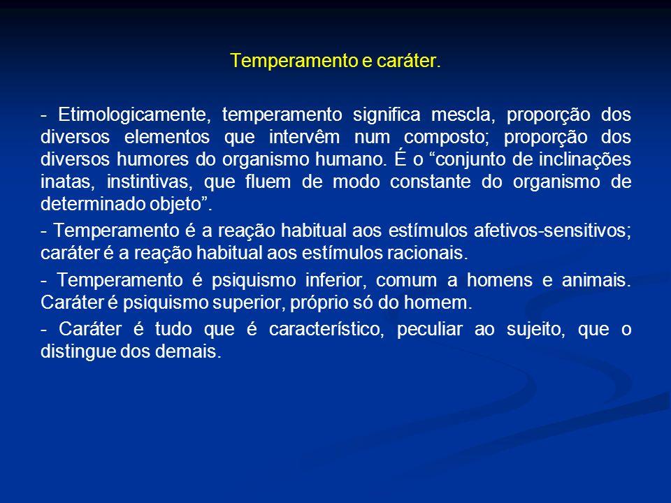 Temperamento e caráter. - Etimologicamente, temperamento significa mescla, proporção dos diversos elementos que intervêm num composto; proporção dos d
