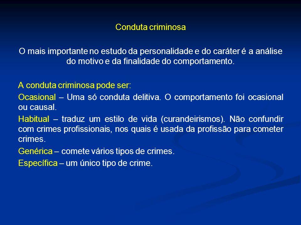 Conduta criminosa O mais importante no estudo da personalidade e do caráter é a análise do motivo e da finalidade do comportamento. A conduta criminos