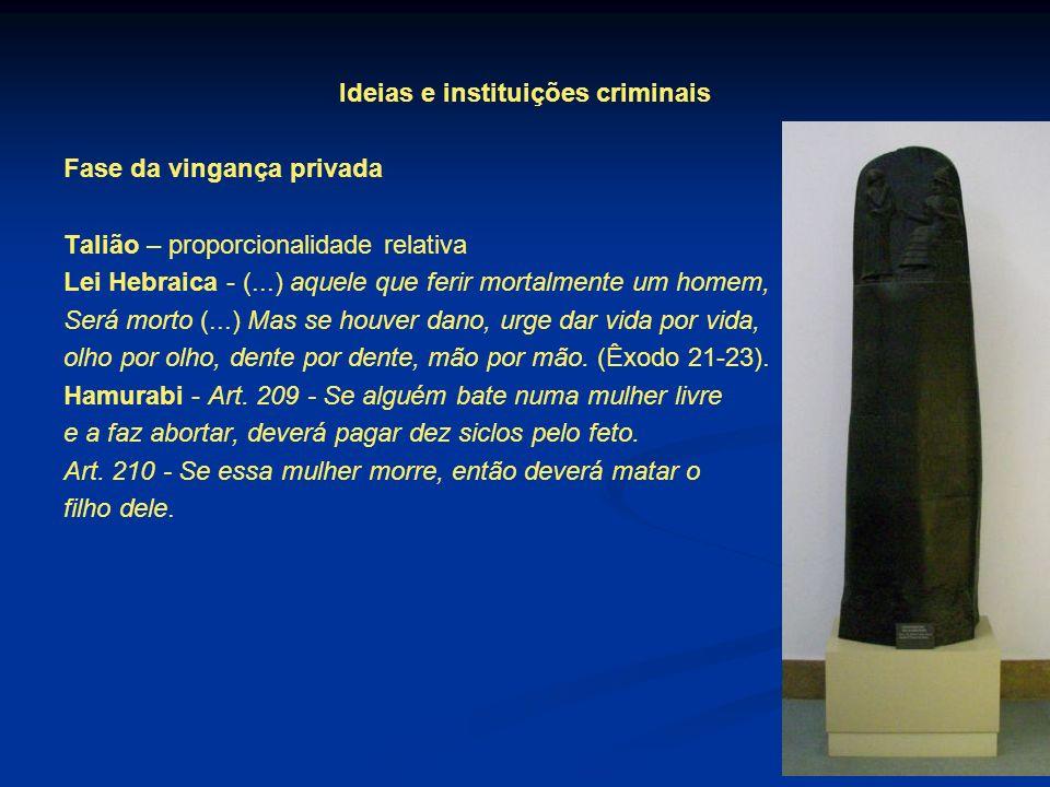 Ideias e instituições criminais Fase da vingança privada Talião – proporcionalidade relativa Lei Hebraica - (...) aquele que ferir mortalmente um home