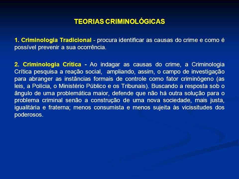 TEORIAS CRIMINOLÓGICAS 1. Criminologia Tradicional - procura identificar as causas do crime e como é possível prevenir a sua ocorrência. 2. Criminolog