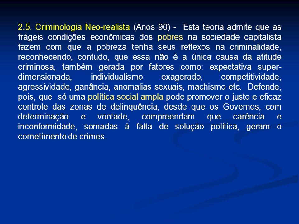 2.5. Criminologia Neo-realista (Anos 90) - Esta teoria admite que as frágeis condições econômicas dos pobres na sociedade capitalista fazem com que a
