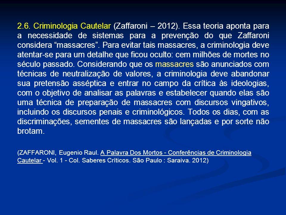 2.6. Criminologia Cautelar (Zaffaroni – 2012). Essa teoria aponta para a necessidade de sistemas para a prevenção do que Zaffaroni considera massacres