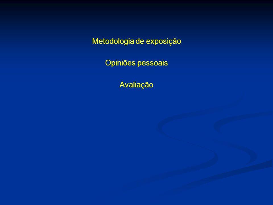 Metodologia de exposição Opiniões pessoais Avaliação
