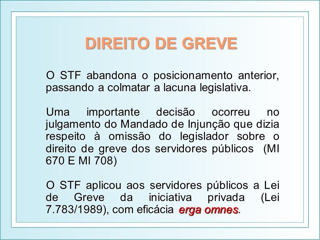 DIREITO DE GREVE O STF abandona o posicionamento anterior, passando a colmatar a lacuna legislativa. Uma importante decisão ocorreu no julgamento do M