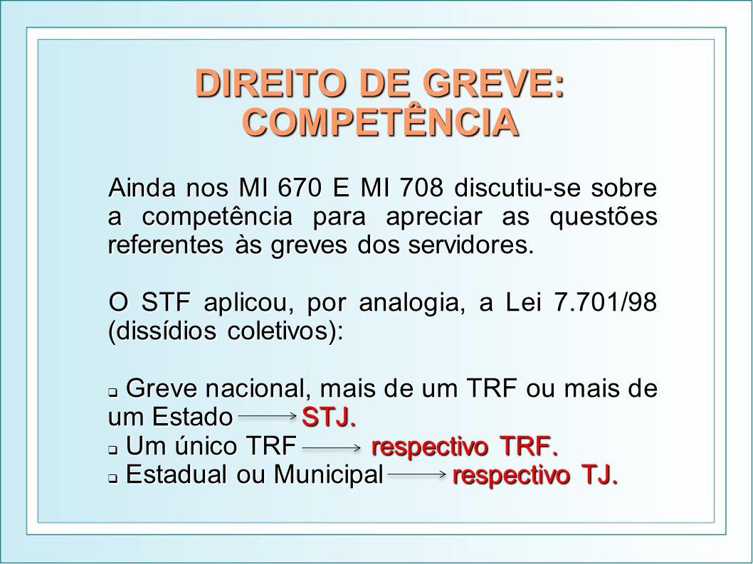 DIREITO DE GREVE: COMPETÊNCIA Ainda nos MI 670 E MI 708 discutiu-se sobre a competência para apreciar as questões referentes às greves dos servidores.