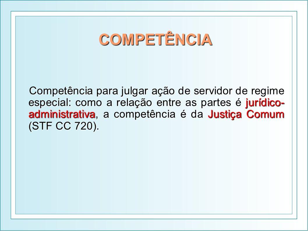 COMPETÊNCIA Competência para julgar ação de servidor de regime especial: como a relação entre as partes é jurídico- administrativa, a competência é da