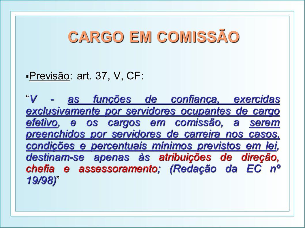 CARGO EM COMISSÃO Previsão: art. 37, V, CF: Previsão: art. 37, V, CF: V - as funções de confiança, exercidas exclusivamente por servidores ocupantes d