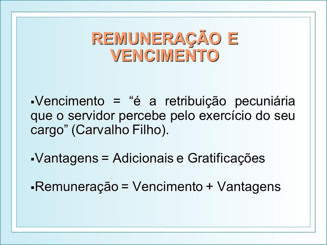REMUNERAÇÃO E VENCIMENTO Vencimento = é a retribuição pecuniária que o servidor percebe pelo exercício do seu cargo (Carvalho Filho). Vencimento = é a