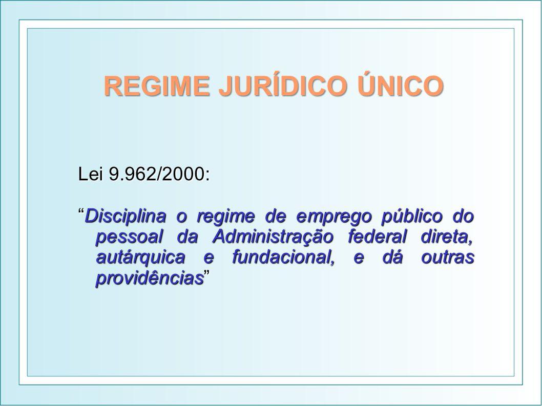 REGIME JURÍDICO ÚNICO Lei 9.962/2000: Disciplina o regime de emprego público do pessoal da Administração federal direta, autárquica e fundacional, e d
