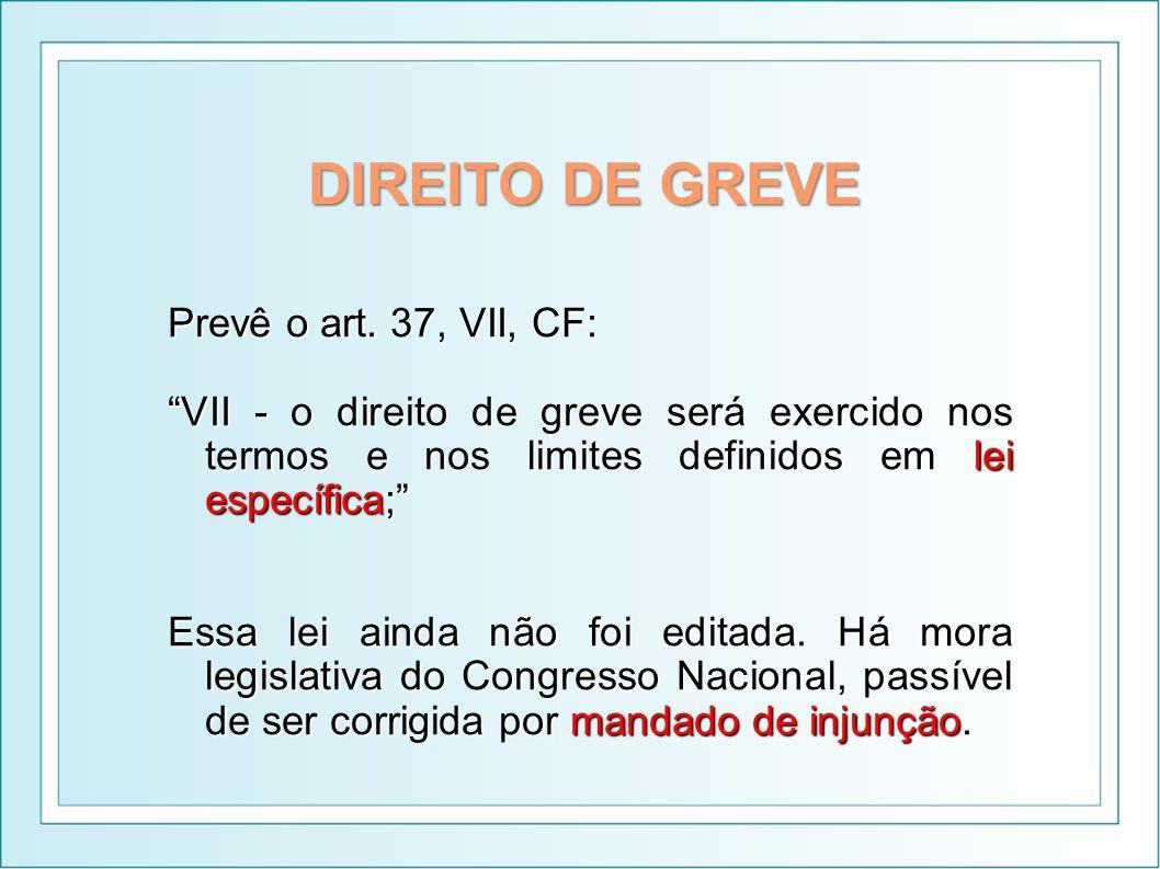 DIREITO DE GREVE Prevê o art. 37, VII, CF: VII - o direito de greve será exercido nos termos e nos limites definidos em lei específica; Essa lei ainda