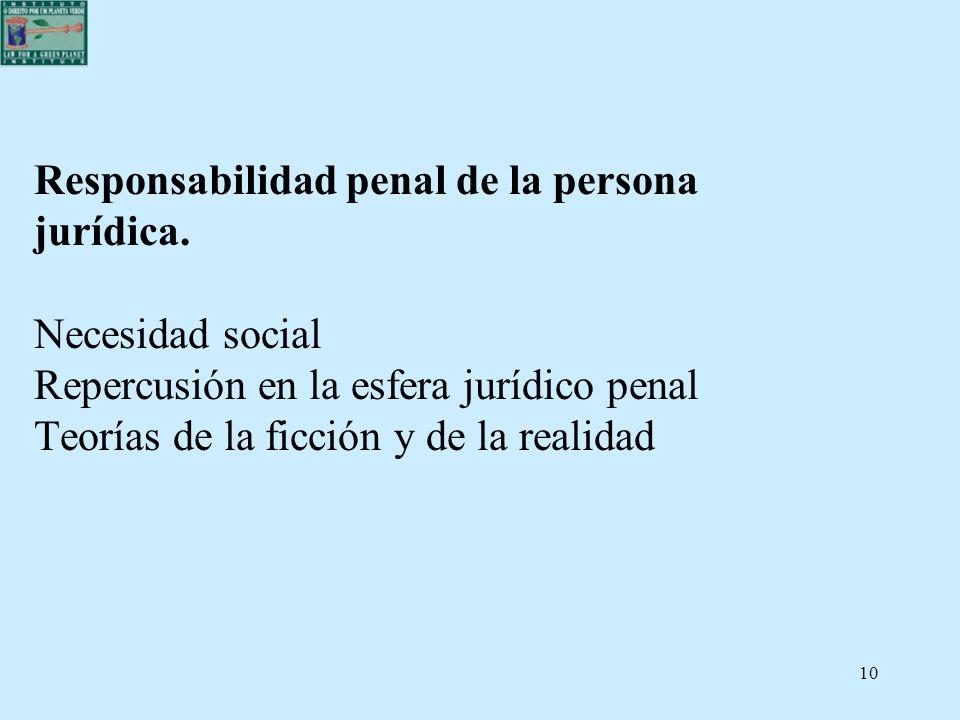 10 Responsabilidad penal de la persona jurídica. Necesidad social Repercusión en la esfera jurídico penal Teorías de la ficción y de la realidad