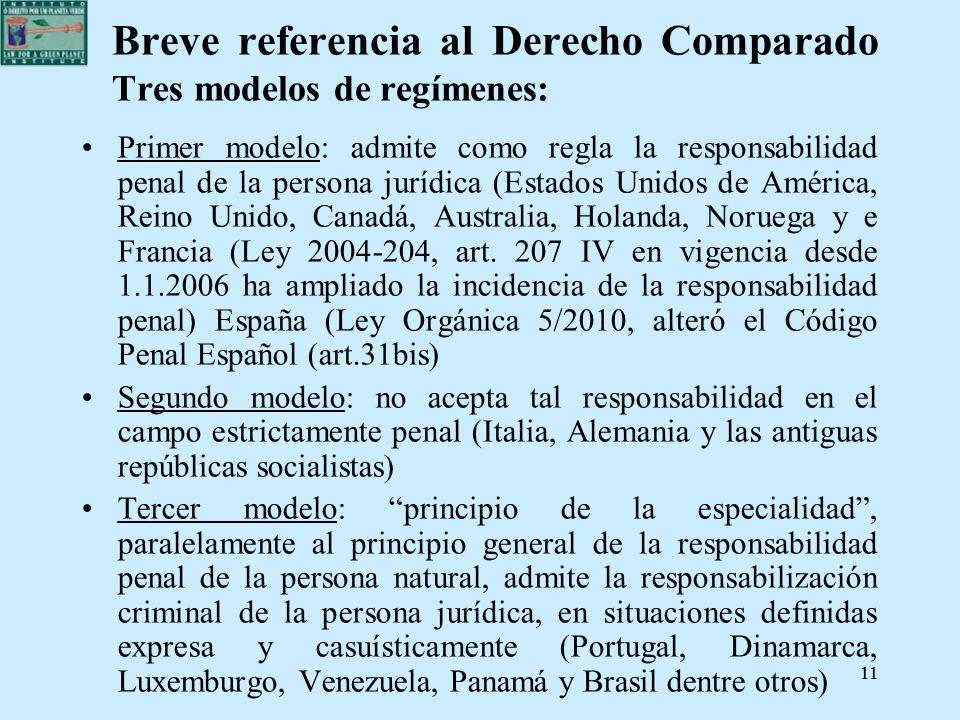 11 Breve referencia al Derecho Comparado Tres modelos de regímenes: Primer modelo: admite como regla la responsabilidad penal de la persona jurídica (