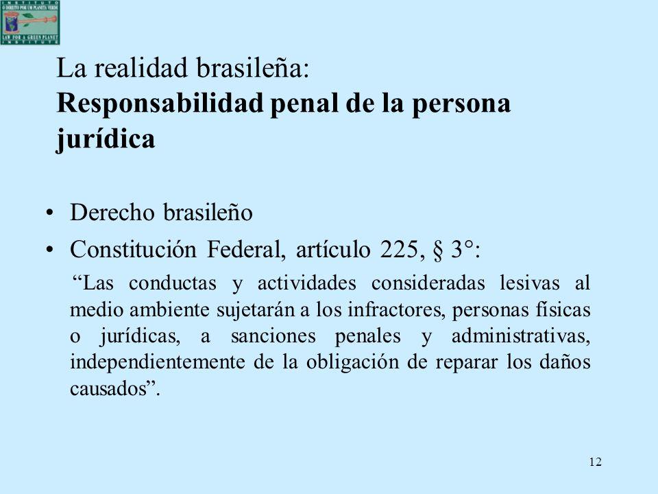 12 La realidad brasileña: Responsabilidad penal de la persona jurídica Derecho brasileño Constitución Federal, artículo 225, § 3°: Las conductas y act