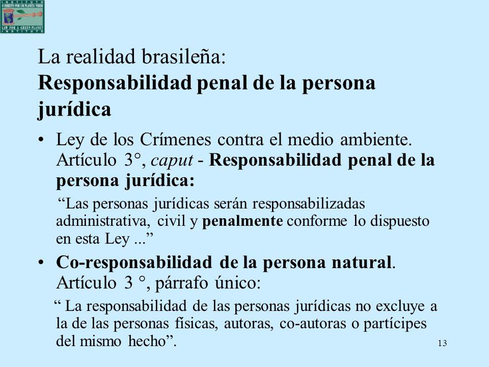 13 La realidad brasileña: Responsabilidad penal de la persona jurídica Ley de los Crímenes contra el medio ambiente. Artículo 3°, caput - Responsabili