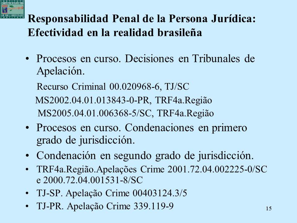 15 Responsabilidad Penal de la Persona Jurídica: Efectividad en la realidad brasileña Procesos en curso. Decisiones en Tribunales de Apelación. Recurs