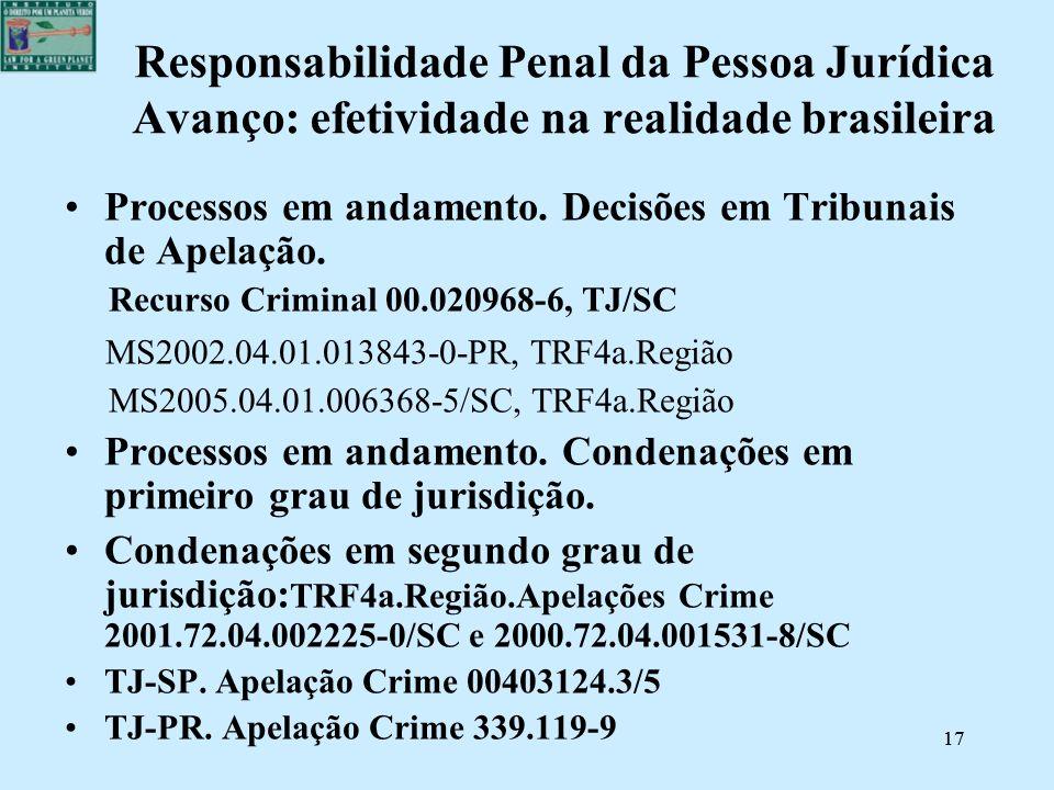 17 Responsabilidade Penal da Pessoa Jurídica Avanço: efetividade na realidade brasileira Processos em andamento. Decisões em Tribunais de Apelação. Re
