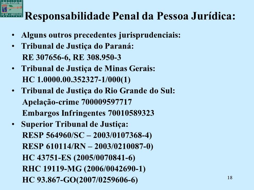 18 Responsabilidade Penal da Pessoa Jurídica: Alguns outros precedentes jurisprudenciais: Tribunal de Justiça do Paraná: RE 307656-6, RE 308.950-3 Tri