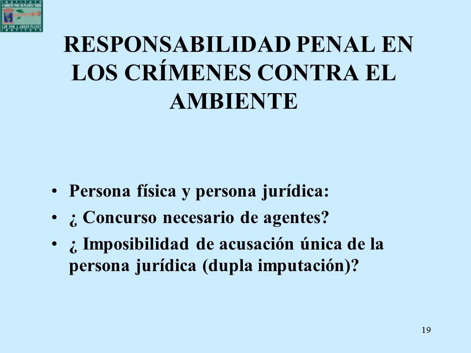 19 RESPONSABILIDAD PENAL EN LOS CRÍMENES CONTRA EL AMBIENTE Persona física y persona jurídica: ¿ Concurso necesario de agentes? ¿ Imposibilidad de acu