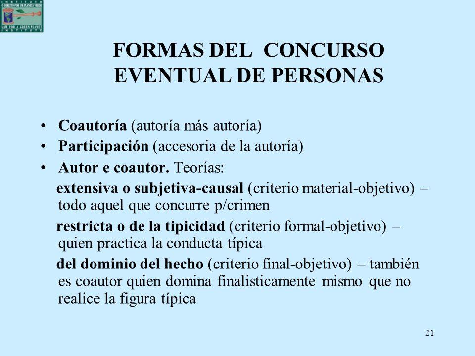 21 FORMAS DEL CONCURSO EVENTUAL DE PERSONAS Coautoría (autoría más autoría) Participación (accesoria de la autoría) Autor e coautor. Teorías: extensiv
