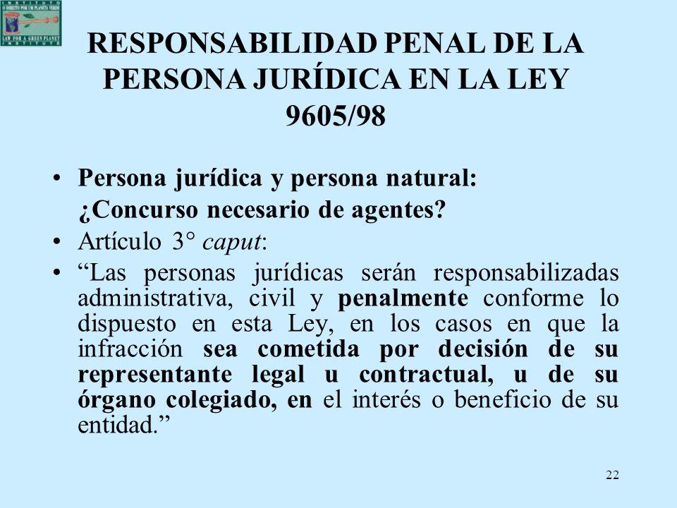 22 RESPONSABILIDAD PENAL DE LA PERSONA JURÍDICA EN LA LEY 9605/98 Persona jurídica y persona natural: ¿Concurso necesario de agentes? Artículo 3° capu