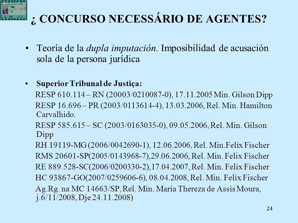 24 ¿ CONCURSO NECESSÁRIO DE AGENTES? Teoría de la dupla imputación. Imposibilidad de acusación sola de la persona jurídica Superior Tribunal de Justiç