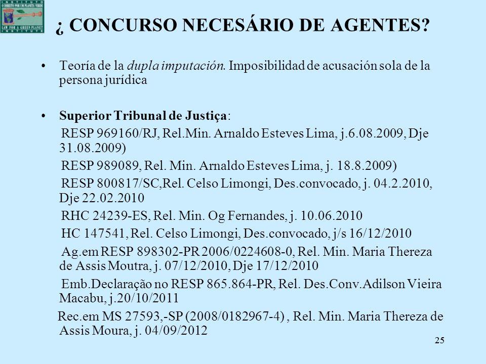 25 ¿ CONCURSO NECESÁRIO DE AGENTES? Teoría de la dupla imputación. Imposibilidad de acusación sola de la persona jurídica Superior Tribunal de Justiça