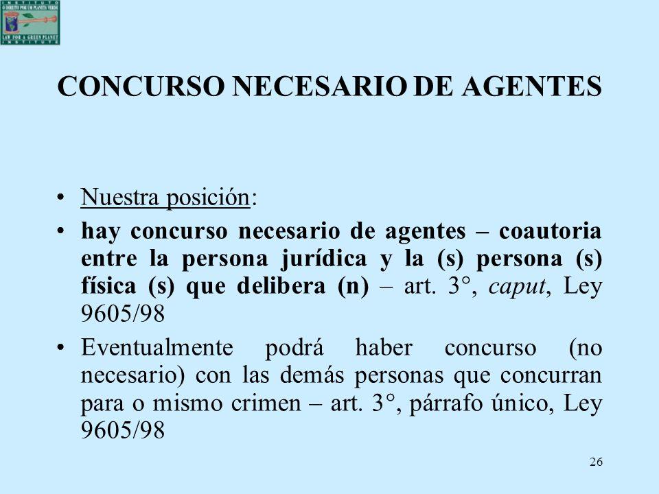 26 CONCURSO NECESARIO DE AGENTES Nuestra posición: hay concurso necesario de agentes – coautoria entre la persona jurídica y la (s) persona (s) física