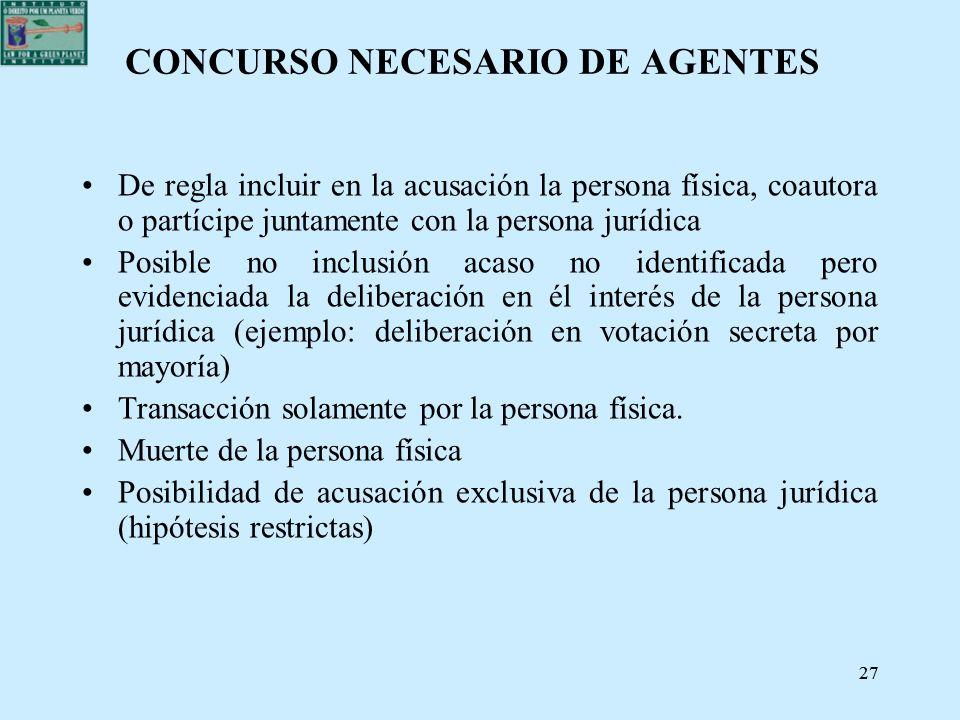 27 CONCURSO NECESARIO DE AGENTES De regla incluir en la acusación la persona física, coautora o partícipe juntamente con la persona jurídica Posible n