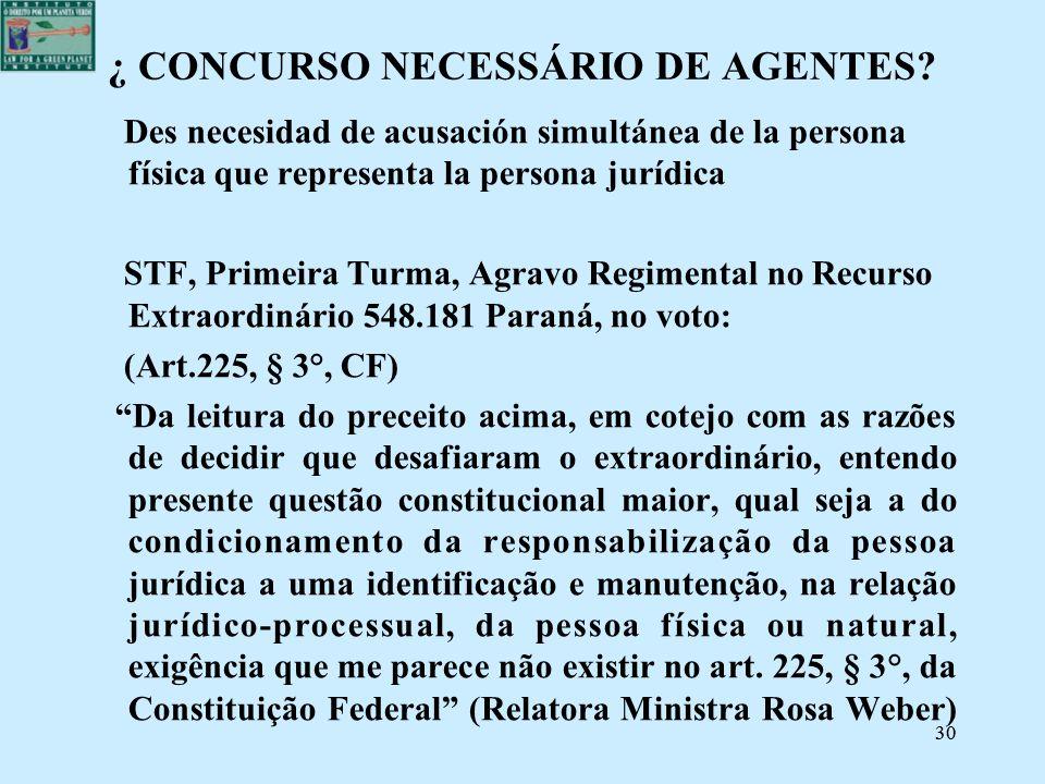 30 ¿ CONCURSO NECESSÁRIO DE AGENTES? Des necesidad de acusación simultánea de la persona física que representa la persona jurídica STF, Primeira Turma
