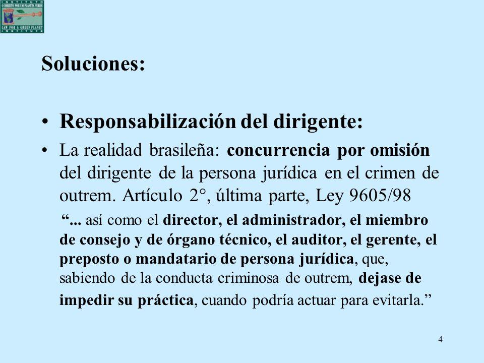 4 Soluciones: Responsabilización del dirigente: La realidad brasileña: concurrencia por omisión del dirigente de la persona jurídica en el crimen de o