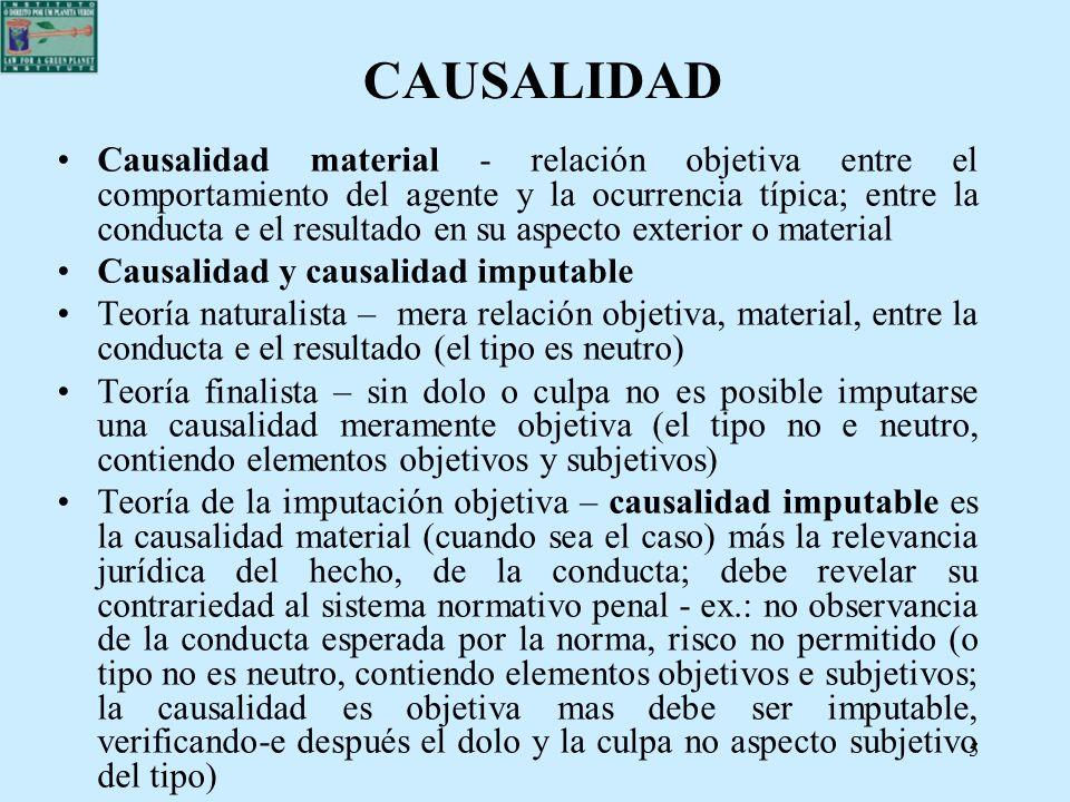 55 CAUSALIDAD Causalidad material - relación objetiva entre el comportamiento del agente y la ocurrencia típica; entre la conducta e el resultado en s