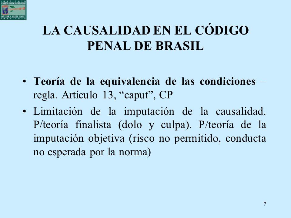 77 LA CAUSALIDAD EN EL CÓDIGO PENAL DE BRASIL Teoría de la equivalencia de las condiciones – regla. Artículo 13, caput, CP Limitación de la imputación