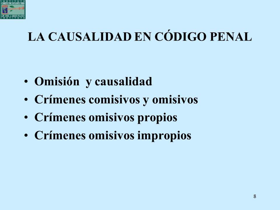 88 LA CAUSALIDAD EN CÓDIGO PENAL Omisión y causalidad Crímenes comisivos y omisivos Crímenes omisivos propios Crímenes omisivos impropios