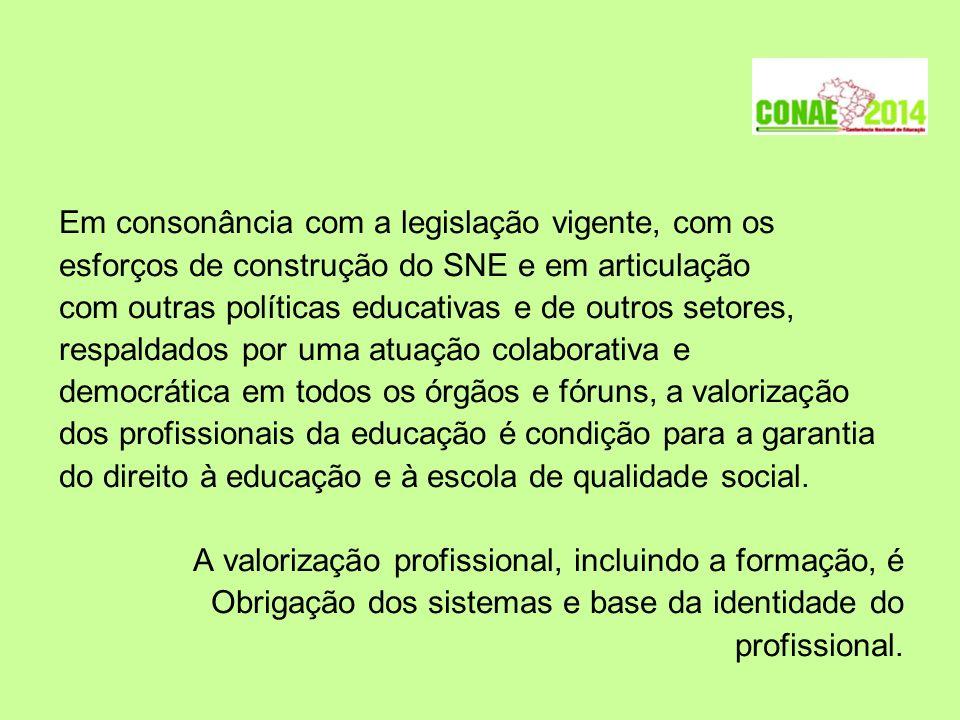 Em consonância com a legislação vigente, com os esforços de construção do SNE e em articulação com outras políticas educativas e de outros setores, re