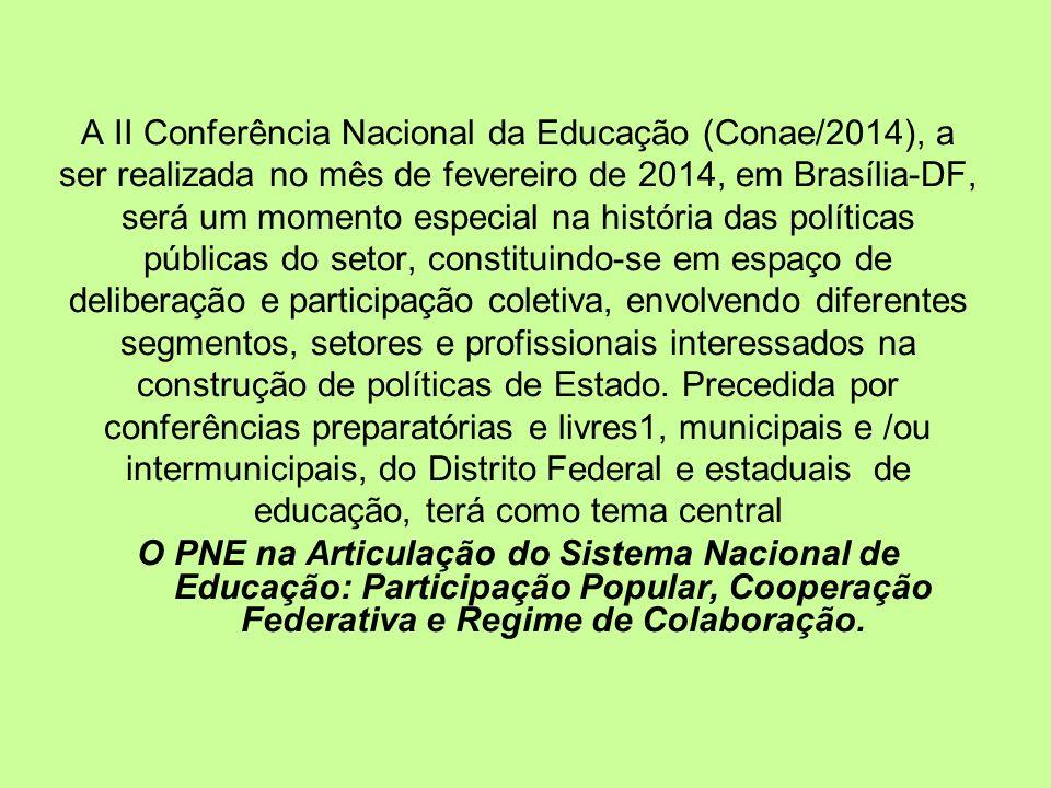 A II Conferência Nacional da Educação (Conae/2014), a ser realizada no mês de fevereiro de 2014, em Brasília-DF, será um momento especial na história das políticas públicas do setor, constituindo-se em espaço de deliberação e participação coletiva, envolvendo diferentes segmentos, setores e profissionais interessados na construção de políticas de Estado.