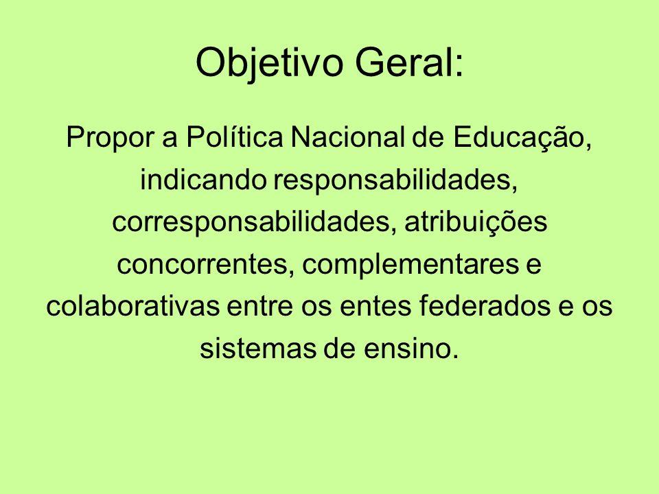 Objetivo Geral: Propor a Política Nacional de Educação, indicando responsabilidades, corresponsabilidades, atribuições concorrentes, complementares e colaborativas entre os entes federados e os sistemas de ensino.