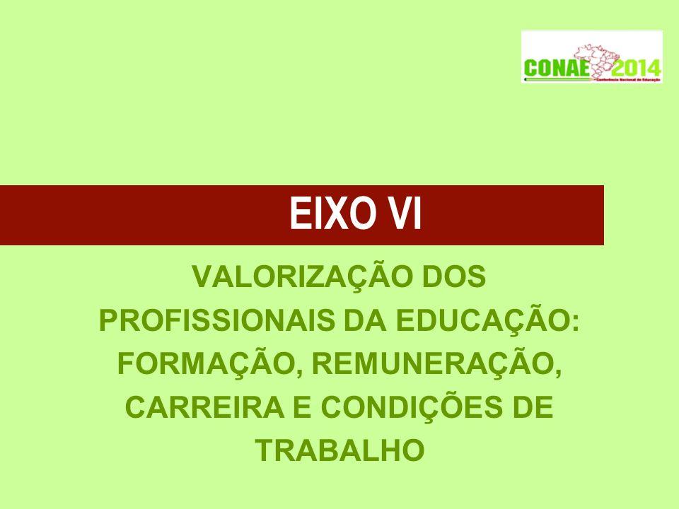 EIXO VI VALORIZAÇÃO DOS PROFISSIONAIS DA EDUCAÇÃO: FORMAÇÃO, REMUNERAÇÃO, CARREIRA E CONDIÇÕES DE TRABALHO