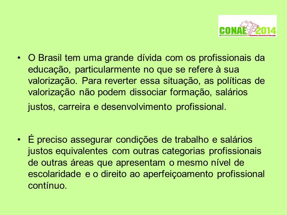O Brasil tem uma grande dívida com os profissionais da educação, particularmente no que se refere à sua valorização. Para reverter essa situação, as p