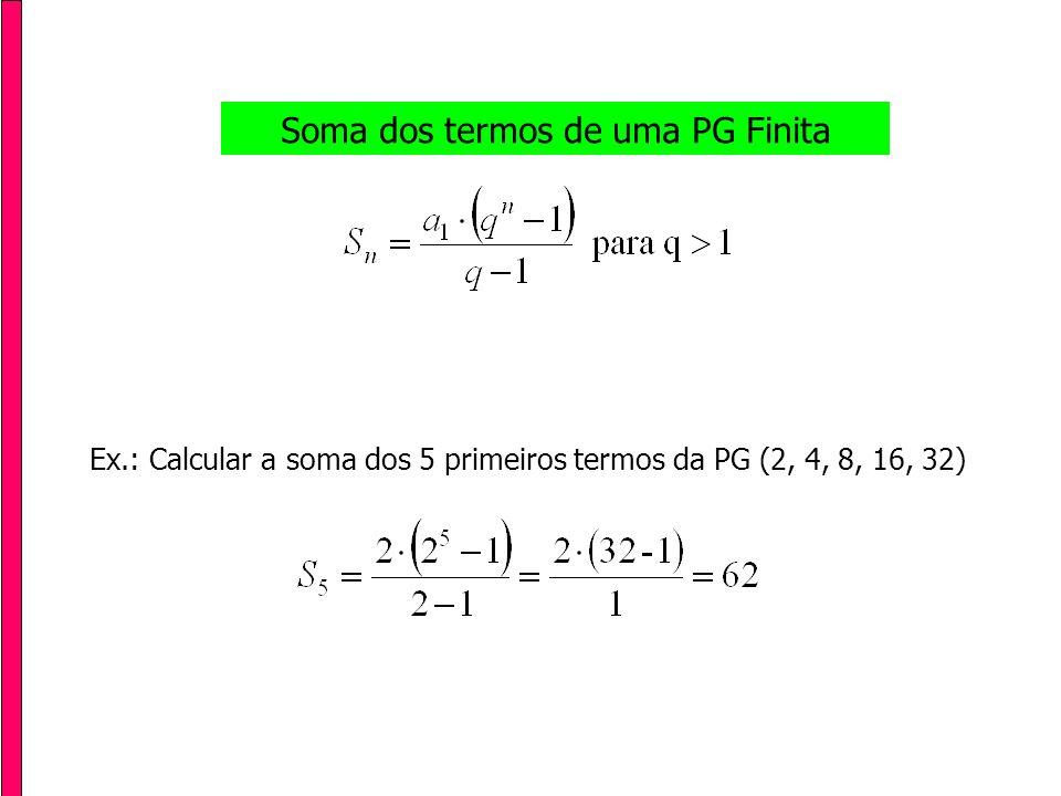 Soma dos termos de uma PG Infinita Ex.: Calcular a soma das áreas coloridas nos quadrados abaixo: 1 u.a.1/2 u.a.1/4 u.a.1/8 u.a.