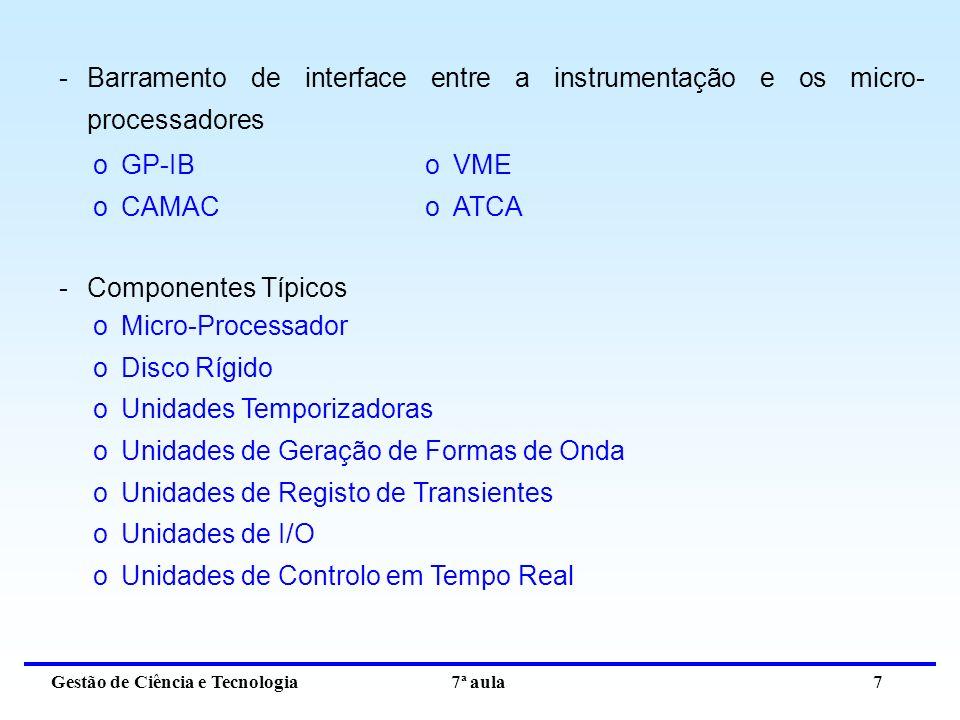 Gestão de Ciência e Tecnologia 7ª aula 7 -Barramento de interface entre a instrumentação e os micro- processadores oGP-IB oCAMAC oVME oATCA -Componentes Típicos oMicro-Processador oDisco Rígido oUnidades Temporizadoras oUnidades de Geração de Formas de Onda oUnidades de Registo de Transientes oUnidades de I/O oUnidades de Controlo em Tempo Real