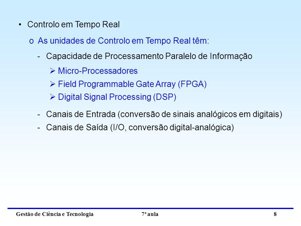 Gestão de Ciência e Tecnologia 7ª aula 8 Controlo em Tempo Real oAs unidades de Controlo em Tempo Real têm: -Capacidade de Processamento Paralelo de Informação Micro-Processadores Field Programmable Gate Array (FPGA) Digital Signal Processing (DSP) -Canais de Entrada (conversão de sinais analógicos em digitais) -Canais de Saída (I/O, conversão digital-analógica)