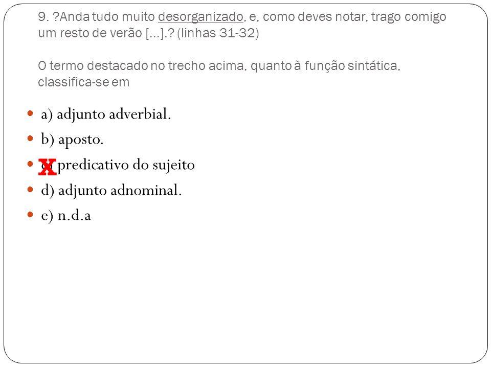 8. Os trechos abaixo constituem parte de um texto adaptado de O Estado de S.Paulo de 16/3/2008. Assinale a opção em que há erro de sintaxe. a) O últim