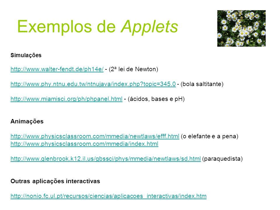 Simulações http://www.walter-fendt.de/ph14e/http://www.walter-fendt.de/ph14e/ - (2ª lei de Newton) http://www.phy.ntnu.edu.tw/ntnujava/index.php?topic